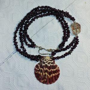 Garnet & quartz shell necklace OOAK
